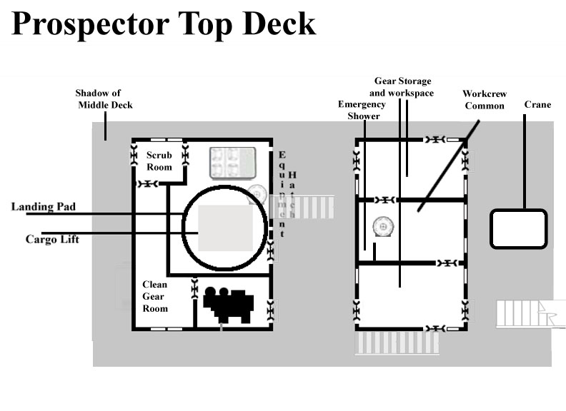 Deck plans for the Prospector's upper deck